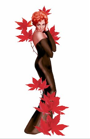 Pinup girl in black dress with red leaves Stock Photo - Premium Royalty-Free, Code: 645-01538374