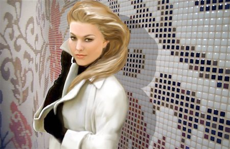 pretty background designs - Blond woman posing in a jacket Stock Photo - Premium Royalty-Free, Code: 645-01538379