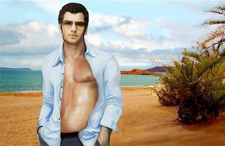 sandi model - Man with shirt open posing on beach Stock Photo - Premium Royalty-Free, Code: 645-01538387