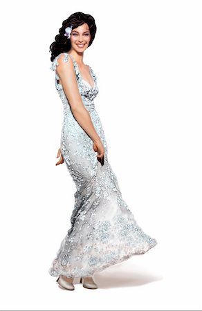 people having sex - Woman twirling her long silvery gown Stock Photo - Premium Royalty-Free, Code: 645-01538381