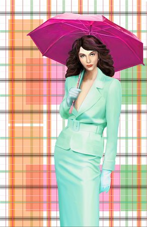 pretty background designs - Woman with suit holding an umbrella Stock Photo - Premium Royalty-Free, Code: 645-01538382