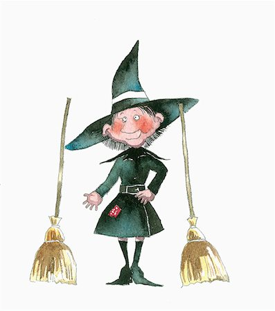 Witch with two brooms Stock Photo - Premium Royalty-Free, Code: 645-01538592
