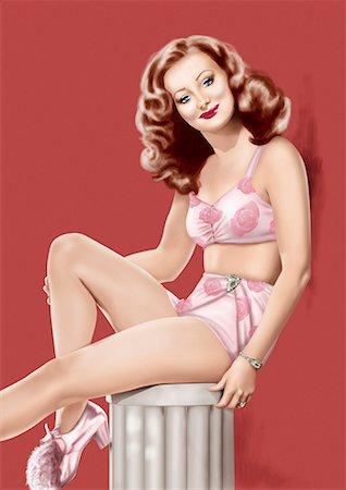 people having sex - Pinup girl in pink flowery lingerie posing on column Stock Photo - Premium Royalty-Free, Code: 645-01739778