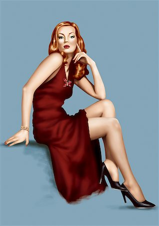 people having sex - Pinup girl posing in red gown and black heels Stock Photo - Premium Royalty-Free, Code: 645-01739772
