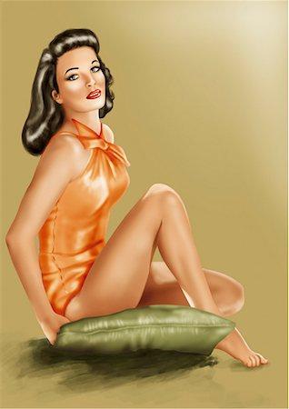 people having sex - Pinup girl sitting on green cushion Stock Photo - Premium Royalty-Free, Code: 645-01739780