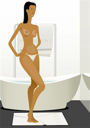 Woman in underwear in front of bathtub Stock Photo - Premium Royalty-Free, Code: 645-01739819