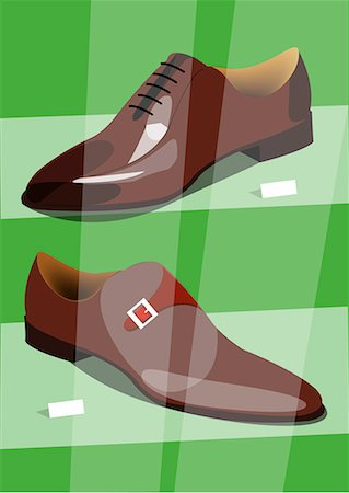 designer backgrounds - Two different new men's shoes in a shop window Stock Photo - Premium Royalty-Free, Code: 645-01739856