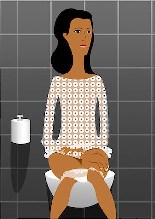 Young woman sitting on toilet Stock Photo - Premium Royalty-Free, Code: 645-01739867