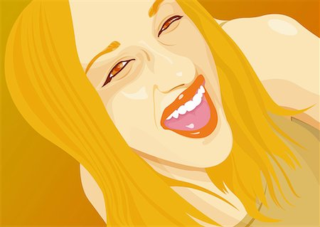 Closeup of young woman laughing Stock Photo - Premium Royalty-Free, Code: 645-01739887