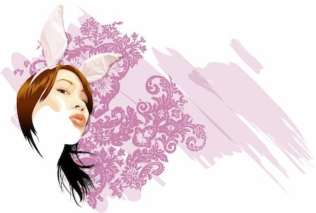 funky flower designs - Young woman with bunny ears Stock Photo - Premium Royalty-Free, Code: 645-01739920