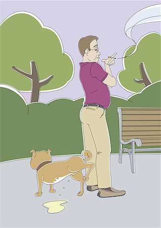 Man waiting for dog to urinate in the park Stock Photo - Premium Royalty-Free, Code: 645-01739956