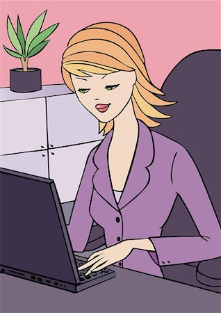 Young woman at laptop in office Stock Photo - Premium Royalty-Free, Code: 645-01739992