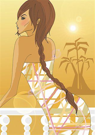 Woman with long braid leaning over balcony Stock Photo - Premium Royalty-Free, Code: 645-01740113