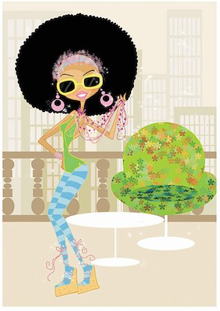 Funky woman in an afro on a terrace Stock Photo - Premium Royalty-Free, Code: 645-01740133