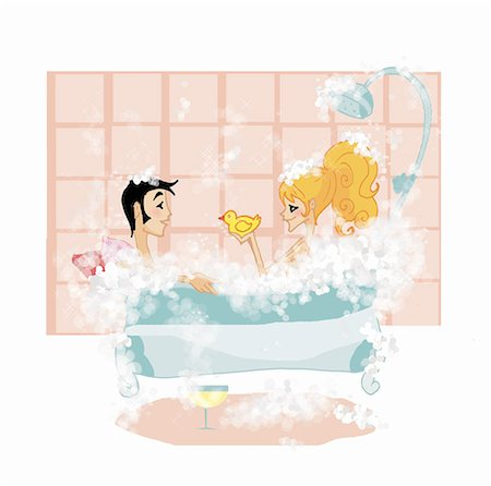 Couple in bathtub together Stock Photo - Premium Royalty-Free, Code: 645-01740235