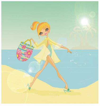 Woman arriving on tropical beach with her beach bag Stock Photo - Premium Royalty-Free, Code: 645-01740270