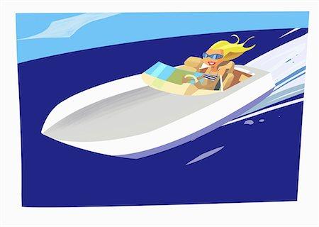 Blonde speeding in motor boat Stock Photo - Premium Royalty-Free, Code: 645-01740339