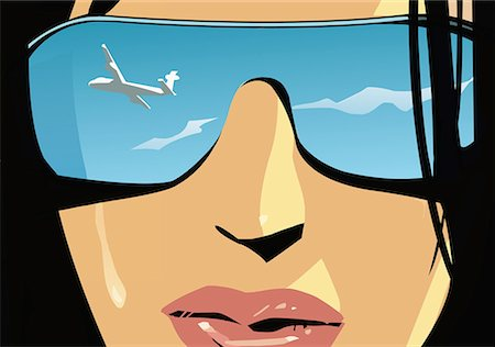 Closeup of woman's face with airplane reflected in her mirror shades Stock Photo - Premium Royalty-Free, Code: 645-01740332