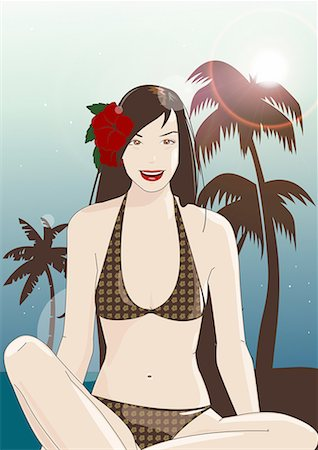 Young woman in bikini with flower in her hair Stock Photo - Premium Royalty-Free, Code: 645-01740369