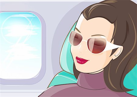Closeup of young woman traveler in airplane Stock Photo - Premium Royalty-Free, Code: 645-01740380