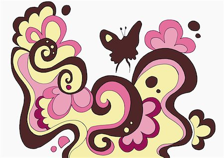 pretty backgrounds draw - Flowery pattern with butterfly Stock Photo - Premium Royalty-Free, Code: 645-01740437