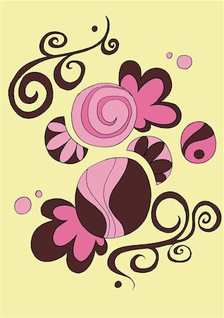 pretty backgrounds draw - Pink and black flowery pattern on yellow background Stock Photo - Premium Royalty-Free, Code: 645-01740445