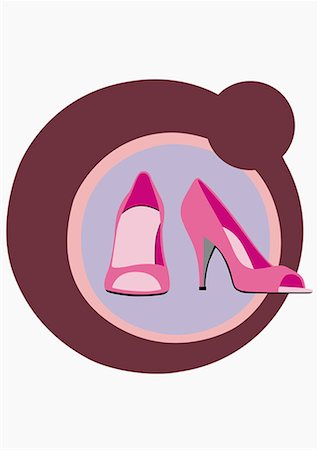 designer backgrounds - A pair of high heels in circles Stock Photo - Premium Royalty-Free, Code: 645-01740446