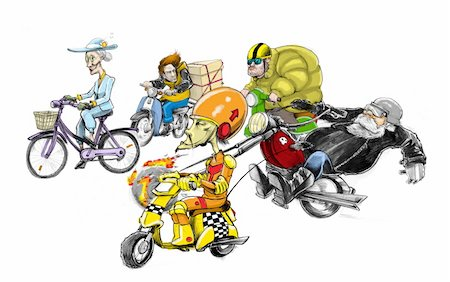 Various two-wheeled vehicles and their owners Stock Photo - Premium Royalty-Free, Code: 645-01826193