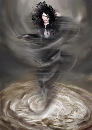 Woman materializing from a swirl of liquid Stock Photo - Premium Royalty-Free, Code: 645-01826228