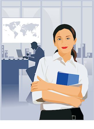 Front view of a businesswoman holding file Stock Photo - Premium Royalty-Free, Code: 645-02153340