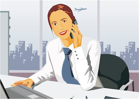 Front view of businesswoman smiling and talking on cell phone Stock Photo - Premium Royalty-Free, Code: 645-02153359