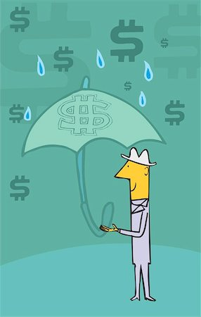 Man standing in rain holding umbrella and dollar symbols in the sky Stock Photo - Premium Royalty-Free, Code: 645-02153384