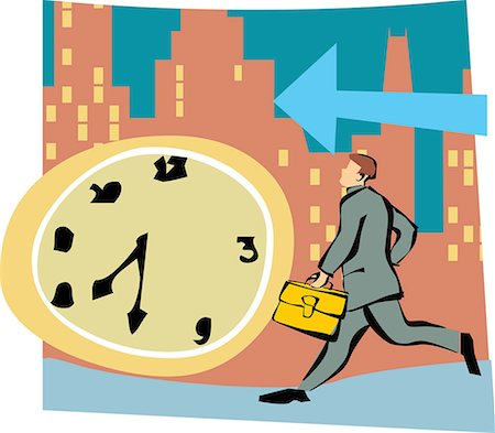 Running businessman by clock and arrow sign Stock Photo - Premium Royalty-Free, Code: 645-02153393