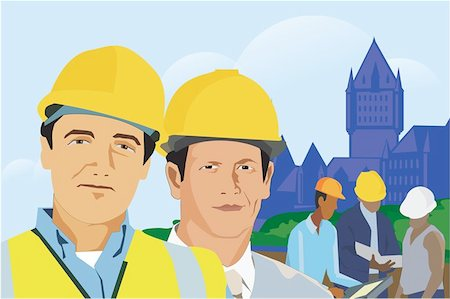 Construction workers with architectural buildings in background Stock Photo - Premium Royalty-Free, Code: 645-02153408