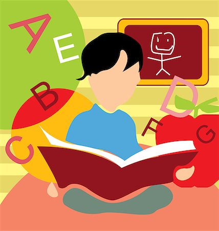 students learning cartoon - Front view of a boy studying book Stock Photo - Premium Royalty-Free, Code: 645-02153427