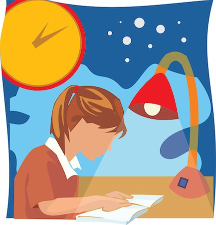students learning cartoon - Side view of a girl studying book Stock Photo - Premium Royalty-Free, Code: 645-02153430
