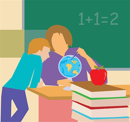 students learning cartoon - Teacher showing globe to student Stock Photo - Premium Royalty-Free, Code: 645-02153433