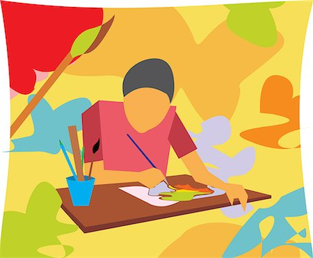 students learning cartoon - Front view of boy painting in an art class Stock Photo - Premium Royalty-Free, Code: 645-02153445