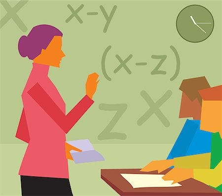 students learning cartoon - Side view of  teacher teaching in a class Stock Photo - Premium Royalty-Free, Code: 645-02153446