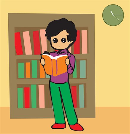 students learning cartoon - Front view of a boy reading book Stock Photo - Premium Royalty-Free, Code: 645-02153448