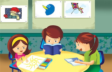 students learning cartoon - Student Studying In Class Room Stock Photo - Premium Royalty-Free, Code: 645-02153449
