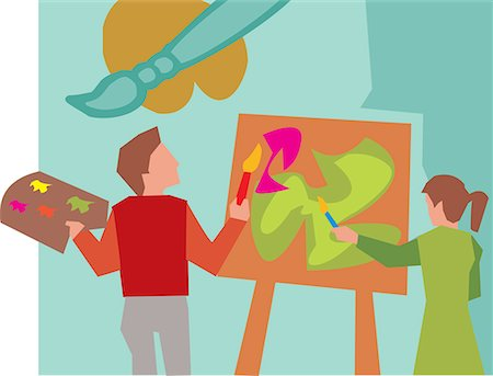 students learning cartoon - Rear view of students painting in art class Stock Photo - Premium Royalty-Free, Code: 645-02153441