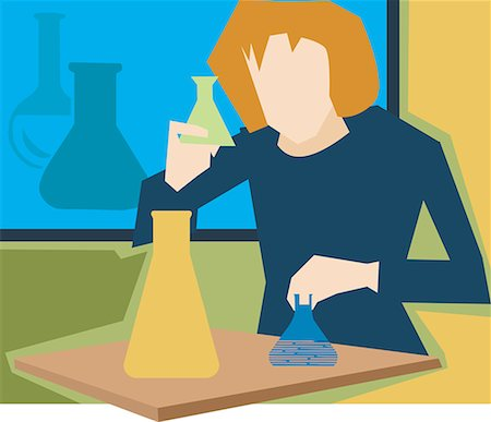 students learning cartoon - Front view of  girl in a science laboratory Stock Photo - Premium Royalty-Free, Code: 645-02153443