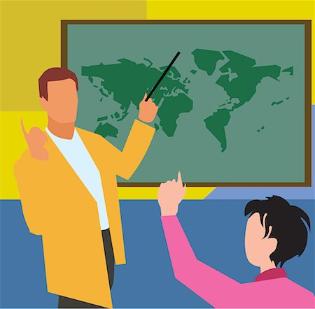 students learning cartoon - Teacher showing world map to student in geography class Stock Photo - Premium Royalty-Free, Code: 645-02153455