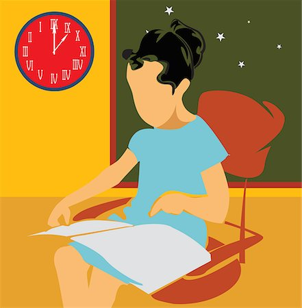 students learning cartoon - Side view of a girl studying while sitting on chair Stock Photo - Premium Royalty-Free, Code: 645-02153456