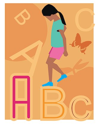 students learning cartoon - Side view of a girl walking on alphabets Stock Photo - Premium Royalty-Free, Code: 645-02153457
