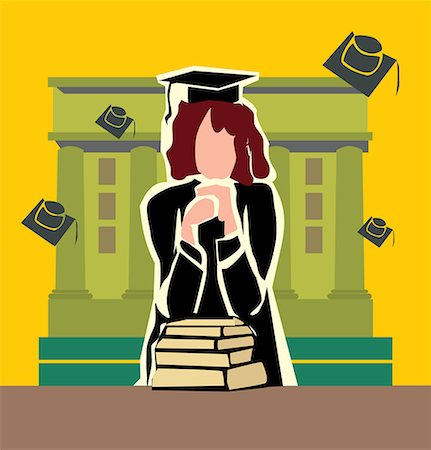 students learning cartoon - Front view of a graduate woman standing by the campus Stock Photo - Premium Royalty-Free, Code: 645-02153450