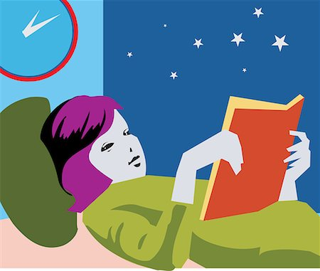 students learning cartoon - Girl reading book while lying on bed Stock Photo - Premium Royalty-Free, Code: 645-02153452