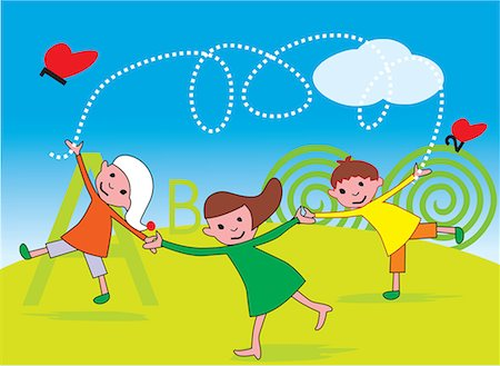 students learning cartoon - Front view of children playing in a park Stock Photo - Premium Royalty-Free, Code: 645-02153464