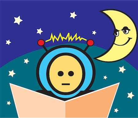 students learning cartoon - Boy reading book with crescent moon and stars Stock Photo - Premium Royalty-Free, Code: 645-02153465